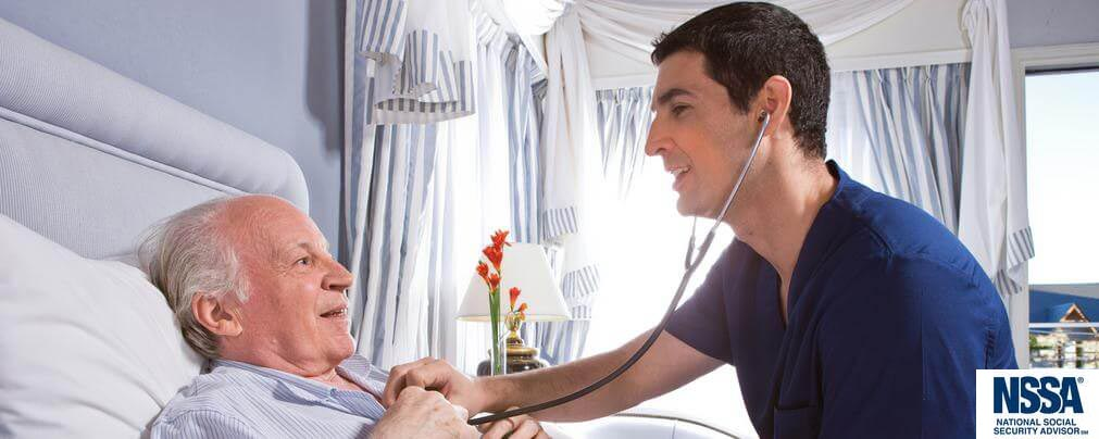 Photo of an older man in bed being treated by a nurse