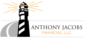 graphic of a black and white lighthouse with yellow lines to show the light shining out, words Anthony Jacobs Financial, LLC on lower right